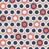 Polka senza cuciture Dot Pattern di retro vettore del MOD in blu scuro, rosso, crema su fondo beige Stampa grafica alla moda di A Fotografie Stock Libere da Diritti