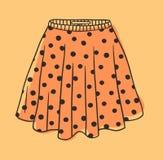 Polka tirée par la main Dots Skirt d'illustration Oeuvre d'art créative d'encre Usage réel de dessin de vecteur Objet d'isolement illustration libre de droits