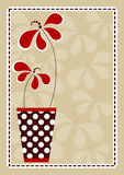 Polka Vase With Flowers Invitation Card vector illustration