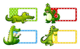 Polkadot labels with crocodiles Royalty Free Stock Image