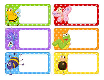 Polkadot labels with many insects Royalty Free Stock Photography