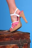 Polkadot shoe. Detail of a woman standing on a wooden trunk Royalty Free Stock Photo
