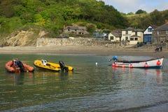 Boats at Polkerris Beach, Cornwall, England stock photo