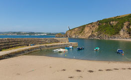 Polkerris Cornwall England with blue sean and sky. Polkerris Cornwall England near St Austell and Par on a beautiful summer day Royalty Free Stock Image