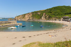 Polkerris Cornwall England near St Austell. And Par on a beautiful summer day with blue sea and sky Royalty Free Stock Photo