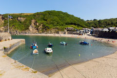 Polkerris harbour Cornwall England near St Austell. Polkerris Cornwall England near St Austell and Par on a beautiful summer day with blue sea and sky Stock Photography