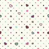 Polki kropki tło z sercami ilustracji