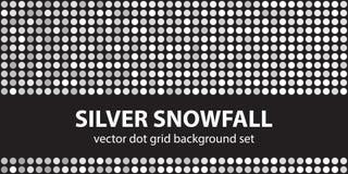 Polki kropki wzoru setu srebra opad śniegu Wektorowy bezszwowy geometryczny royalty ilustracja
