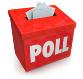 Poll Survey Submission Entry Box Answer Questions Vote. Poll word on a red collection box for votes, survey reponses or answers to questions to gather opinions Royalty Free Stock Photography