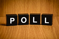 Poll word on black block. Poll or vote text on black block Royalty Free Stock Photos