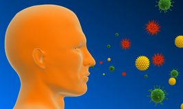 Pollen allergy. 3d rendered illustration of a human head with difference pollen stock illustration