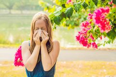 Pollen allergy concept. Young woman is going to sneeze. Flowering trees in background royalty free stock photos