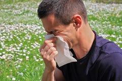 Pollen allergy, Springtime. Man sneezing in a tissue Stock Photo