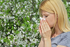 Pollen allergy, Springtime. Woman sneezing in a tissue Royalty Free Stock Photos