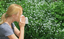 Pollen allergy, Springtime. Woman sneezing in a tissue Stock Images