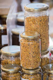 Pollen glass jar at the market Royalty Free Stock Images