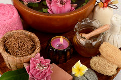 Pollen Lotus, Lotus Flower et savon, fleur faite main de station thermale de savons de la Thaïlande images libres de droits
