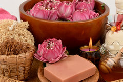 Pollen Lotus, Lotus Flower and Soap, handmade soaps spa flower of Thailand. Royalty Free Stock Photos