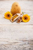 Pollen and propolis. In wooden spoon Royalty Free Stock Photo