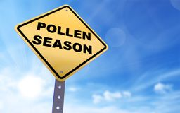 Pollen season sign. On blue sky background,3d rendered Stock Images