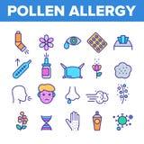 Pollenallergie-Symptom-Vektor-linearer Ikonen-Satz lizenzfreie abbildung