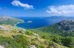 Pollenca bay - hill view Stock Photos