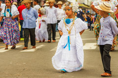 The pollera from Panama, young girls marching at the parade in C Royalty Free Stock Image
