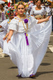 The pollera from Panama, young girls marching at the parade in C Royalty Free Stock Images