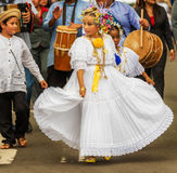 The pollera from Panama, young girls marching at the parade in C Stock Photos