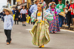 The pollera from Panama, young girls marching at the parade in C Stock Photography