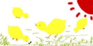 Polli dell'illustrazione del bambino Fotografia Stock Libera da Diritti