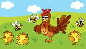 Polli e api sull'azienda agricola royalty illustrazione gratis