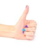 Pollice della mano della donna su Fotografie Stock Libere da Diritti