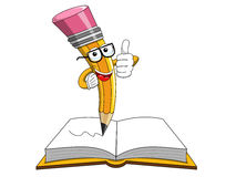 Pollice della mascotte della matita sul libro aperto isolato Fotografie Stock