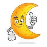 Pollice di sorriso sulla mascotte della luna, carattere della luna, vettore del fumetto della luna Immagini Stock Libere da Diritti