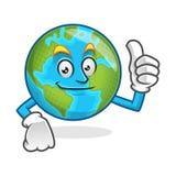 Pollice di sorriso sulla mascotte della terra, carattere della terra, vect del fumetto della terra Fotografie Stock