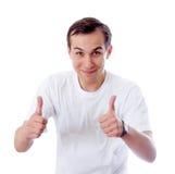 Pollice felice dell'uomo in su Fotografie Stock