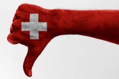 Pollice giù Svizzera Immagine Stock