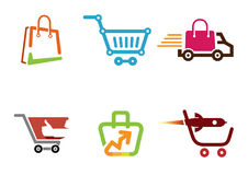 Pollice Logo Design Illustration del negozio del carretto Immagini Stock