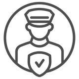 Pollice oficera kontrolnej linii ikona Policjant z czek wektorową ilustracją odizolowywającą na bielu Milicyjny ochrona kontur ilustracja wektor