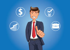 Pollice sorridente di manifestazione dell'uomo d'affari su Illustrazione di Stock