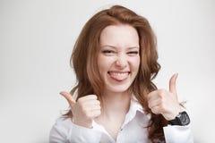 Pollice in su Donna di affari su priorità bassa bianca Fotografie Stock Libere da Diritti