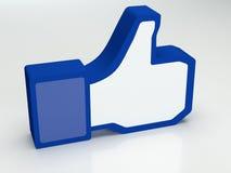 Pollice in su sociale del facebook di media Immagine Stock Libera da Diritti