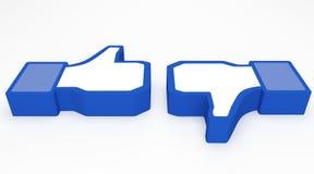 Pollice in su sociale del facebook di media Immagini Stock Libere da Diritti