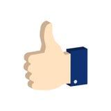 Pollice sul simbolo Icona o logo isometrica piana Fotografia Stock Libera da Diritti