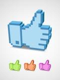 Pollice sull'icona nell'arte del pixel Immagini Stock