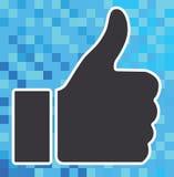 Pollice sull'icona su fondo digitale Fotografie Stock