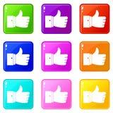 Pollice sull'insieme delle icone 9 di gesto Fotografia Stock Libera da Diritti