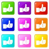 Pollice sull'insieme delle icone 9 di gesto Immagine Stock
