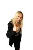 Pollice sulla donna di affari Fotografia Stock Libera da Diritti